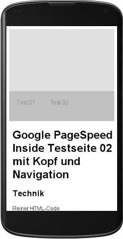 Screenshot Ergebnis Google Page Speed Mobile